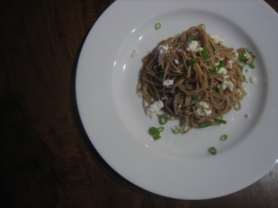 Balsamic Vinegar Pasta with Goat Cheese and Scallions