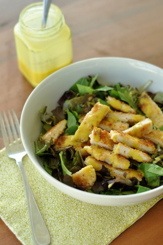 Pan-Fried Chicken Salad with Honey Mustard Dressing 1